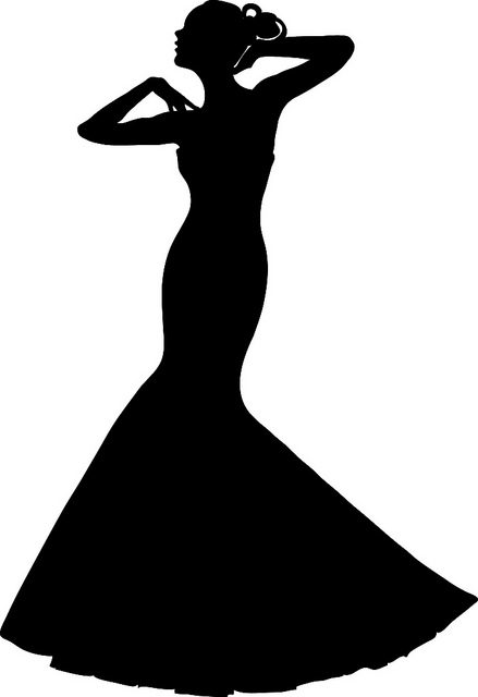 Clip art illustration of a spring bride wearing a strapless wedding gown.