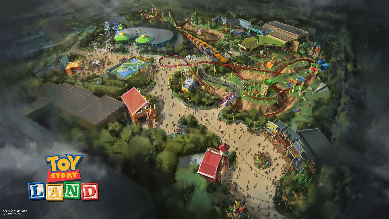 Toy Story Land at DisneyÕs Hollywood Studios in Florida -- The reimagining of DisneyÕs Hollywood Studios will take guests to infinity and beyond, allowing them to step into the worlds of their favorite films, starting with Toy Story Land. This new 11-acre land will transport guests into the adventurous outdoors of AndyÕs backyard. Guests will think theyve been shrunk to the size of Woody and Buzz as they are surrounded by oversized toys that Andy has assembled using his vivid imagination.  Using toys like building blocks, plastic buckets and shovels, and game board pieces, Andy has designed the perfect setting for this land, which will include two new attractions for any Disney park and one expanded favorite. (Disney Parks)