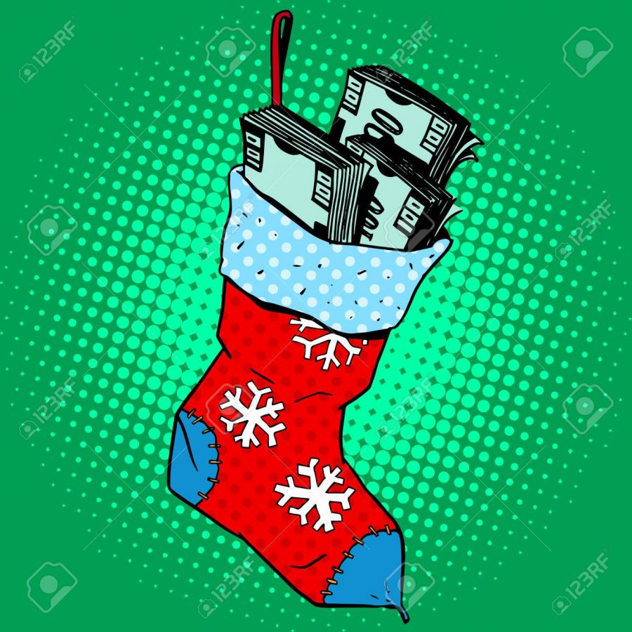 Christmas sock with the money. Annual profit the gift of financial success pop art retro style