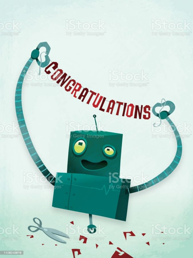 A robot holding a congratulations message for all your robot holding a congratulations message needs!