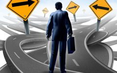 15845975 - strategic journey as a business man with a breifcase choosing the right strategic path for a new career with blank yellow traffic signs with arrows tangled roads and highways in a confused direction